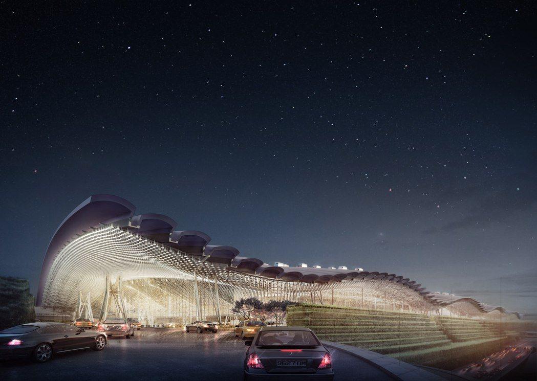 桃園機場第三航廈的設計外觀。 桃機公司/提供