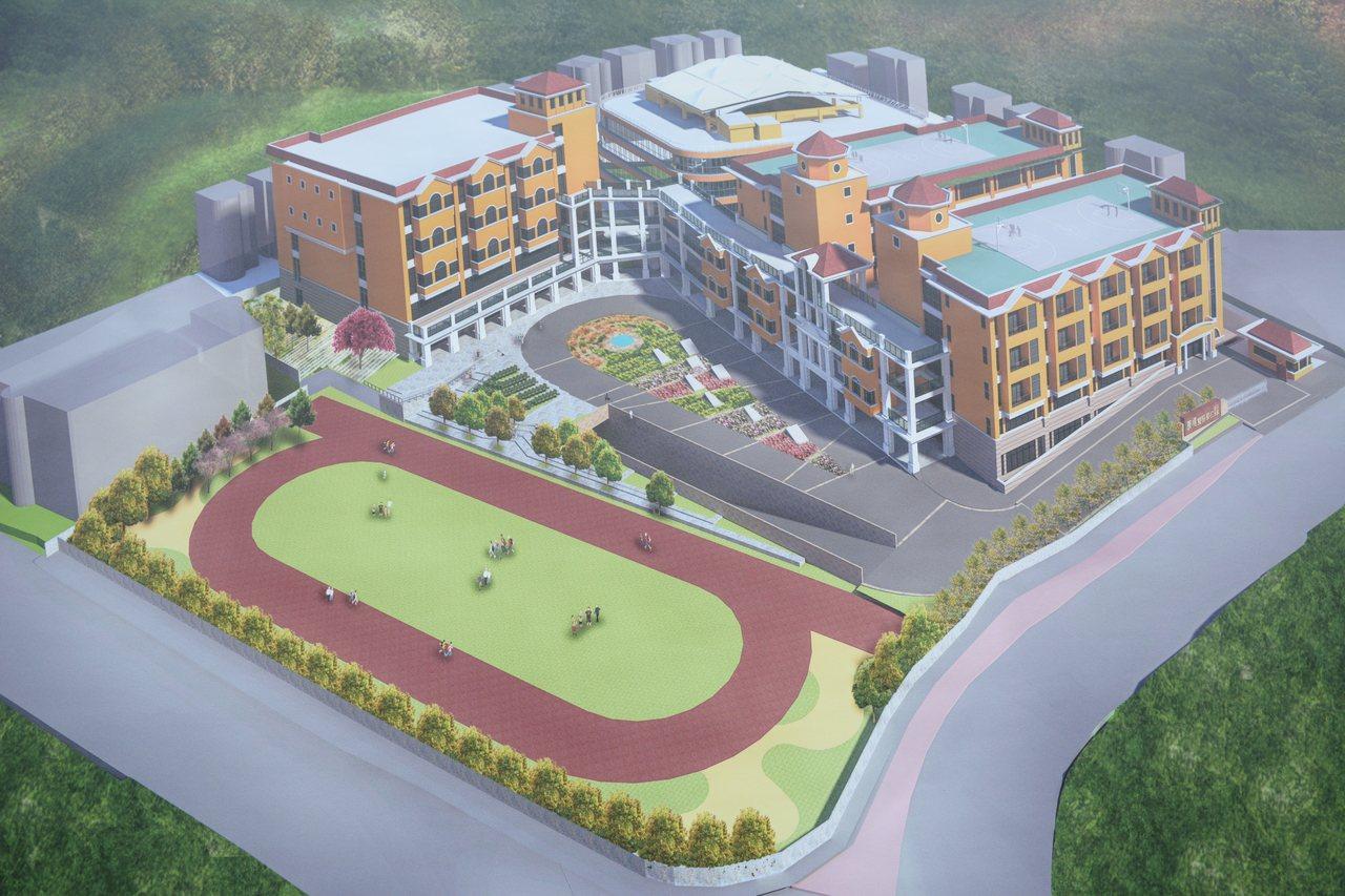 康橋國際黉舍新竹校區今天起基動土,新的教學大樓來歲7月可落成,圖為新大樓示意圖。...