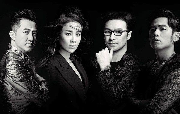 「中國新歌聲」邀請哈林(左起)、那英、汪峰、周杰倫組成導師陣容。圖/中天提供