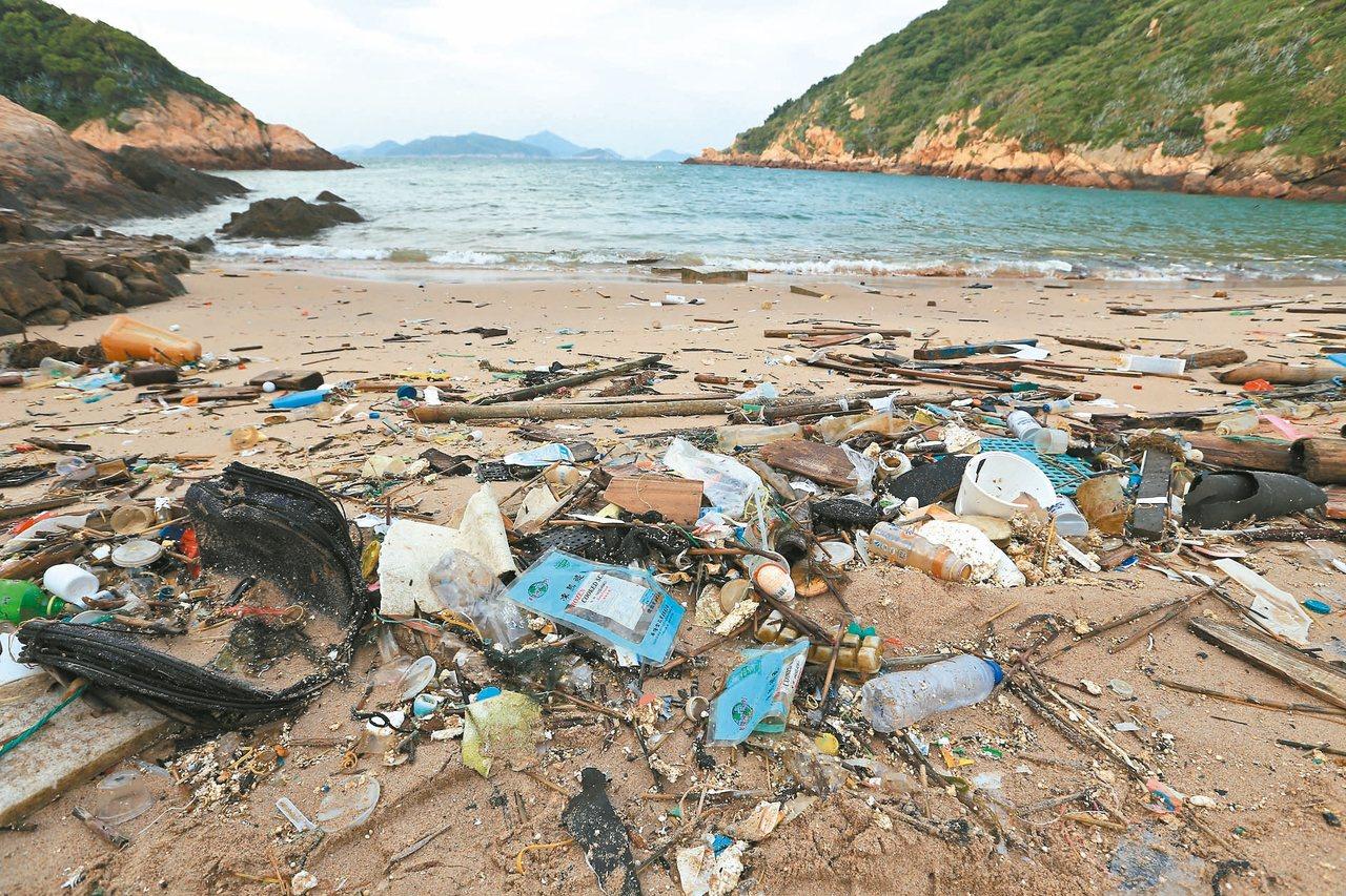 黑夜不懂白天的醜其實天亮後會發現,沙灘更多海漂垃圾,水裡也有不少垃圾跟著浪潮...