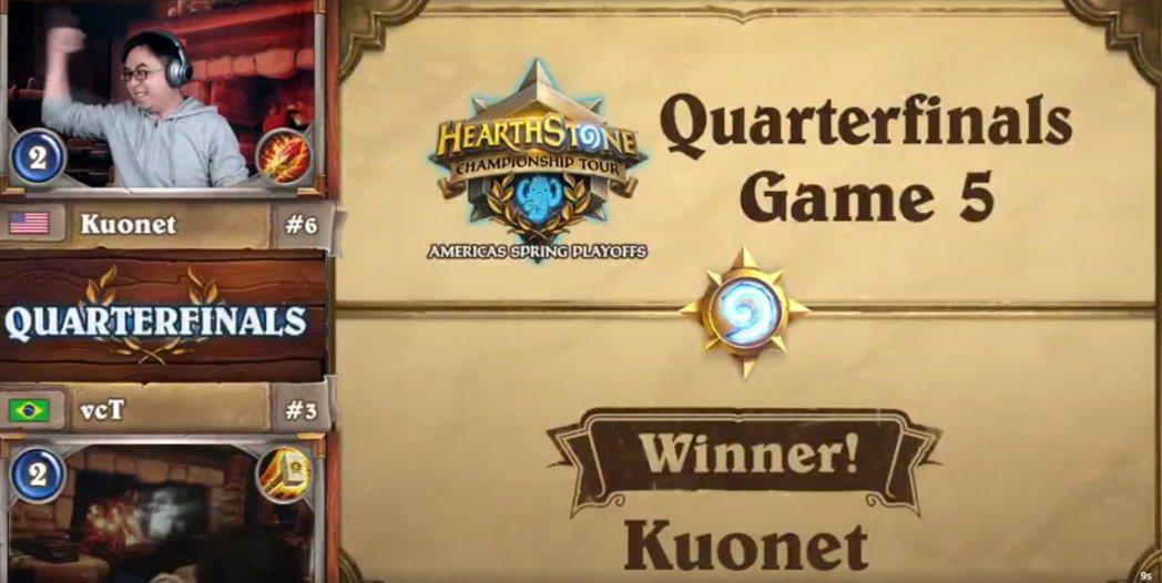 逆穿三贏得關鍵一戰的勝利後,Kuonet向現場觀眾振臂致意。 圖/賽事VOD