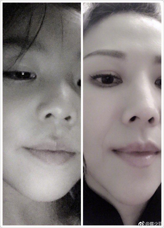 蔡少芬貼出與女兒的自拍照,感嘆DNA力量驚人。圖/取自微博