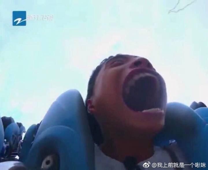 王大陸參加「高能少年團」節目挑戰雲霄飛車,張大嘴模樣,讓網友笑翻。圖/摘自我上前...