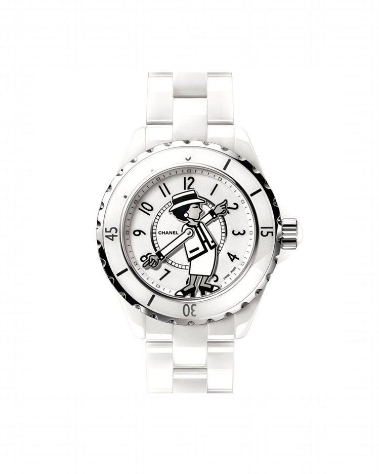香奈兒新款白色Mademoiselle J12腕表,限量555只,香奈兒女士肖像...