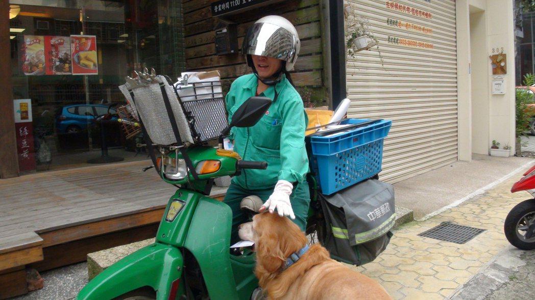 家犬咬傷郵差案例頻傳,但仍有親人的狗狗。圖為民眾飼養的「BOSS」只要郵差接近,...