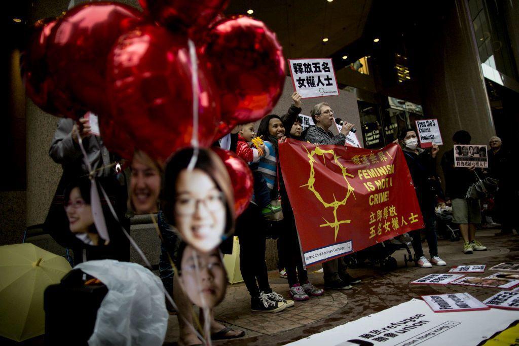 2015年3月8日婦女節當天,中國五名女權運動人士因為反對性騷擾而遭到拘捕。 圖...
