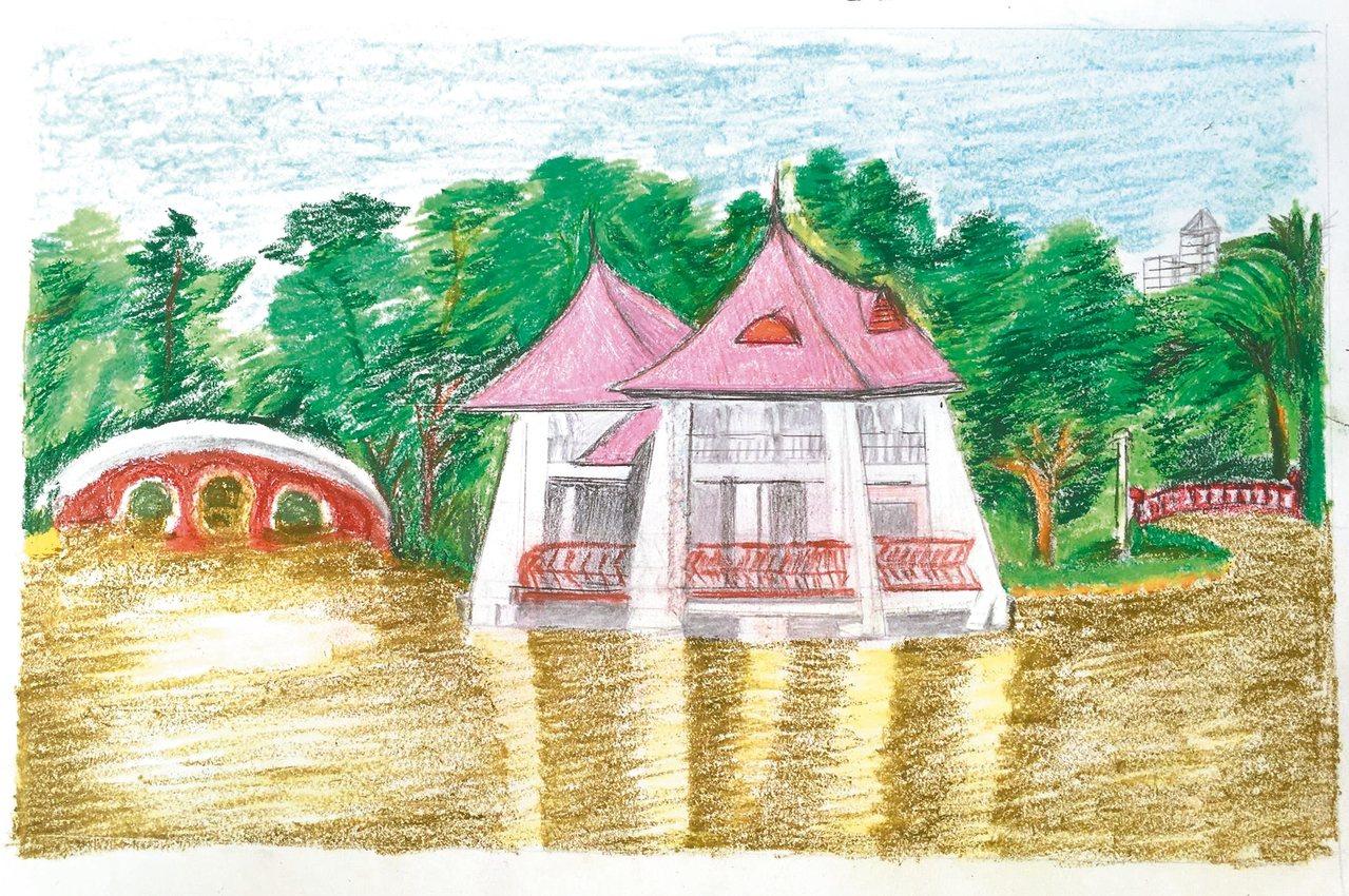 劉克襄的母親陳孅孅女士畫的台中公園,劉說:母親「85歲居然可以畫,才學不到四個月...
