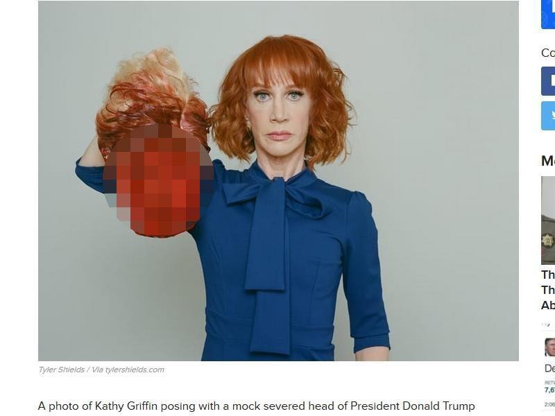 美國諧星凱西葛里芬手提美國總統川普血淋淋斷頭模型的照片30日外流被PO上網,網友