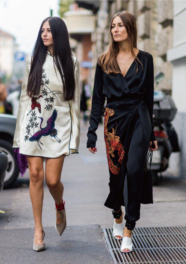義大利籍街拍紅人Giorgia Tordini和Gilda Ambrosio利用...