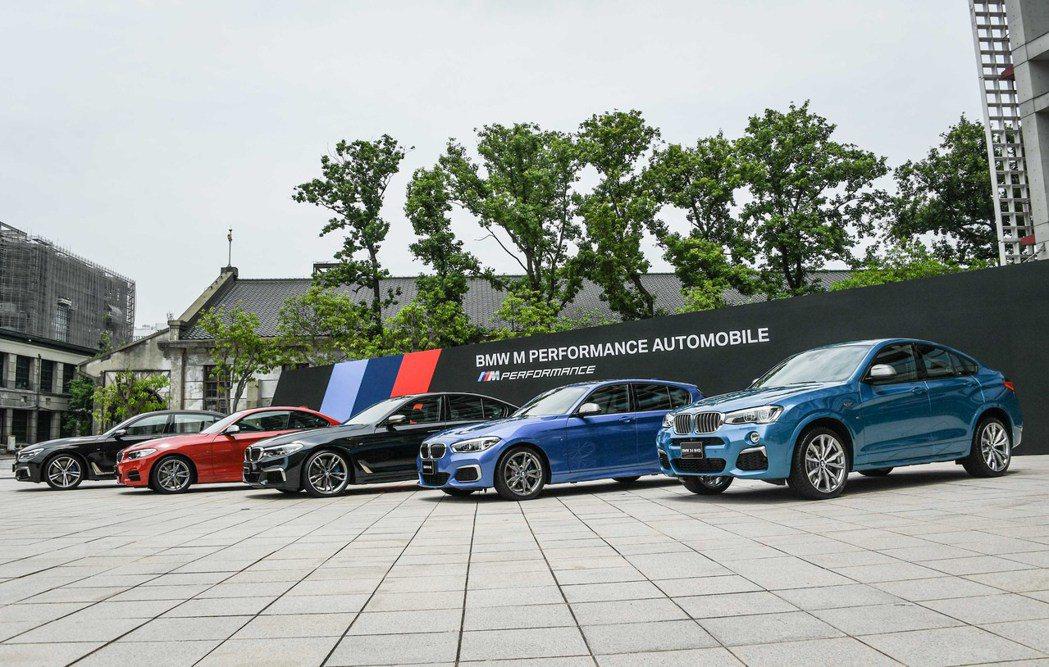 (從左至右)BMW M760Li xDrive、BMW M240i、BMW M550i xDrive、BMW M140i、BMW X4 M40i 。 圖/汎德提供