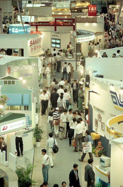 1995年台北國際電腦展Computex會場俯瞰照。 圖/報系資料照