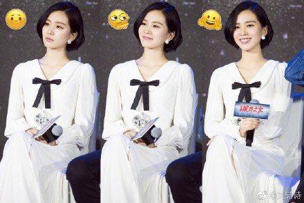 劉詩詩短髮造型現身記者會。圖取自微博
