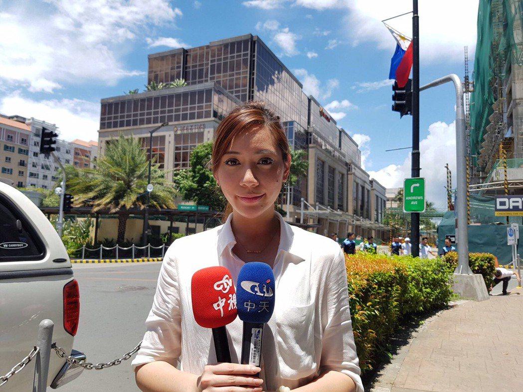 中天特派主播郭安妮前往菲律賓採訪。圖/中天提供