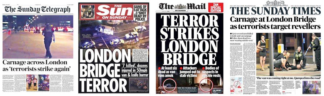 原本英國各大報的周日特別頭版,都因恐攻事件而緊急抽換。