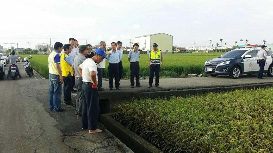 雲林監獄疑為重油外流,汙染鄰近農田作物,農民無奈。圖/雲林縣環保局提供