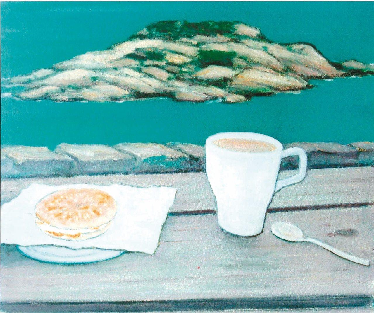 何肇衢油畫作品〈芹壁民宿早餐〉