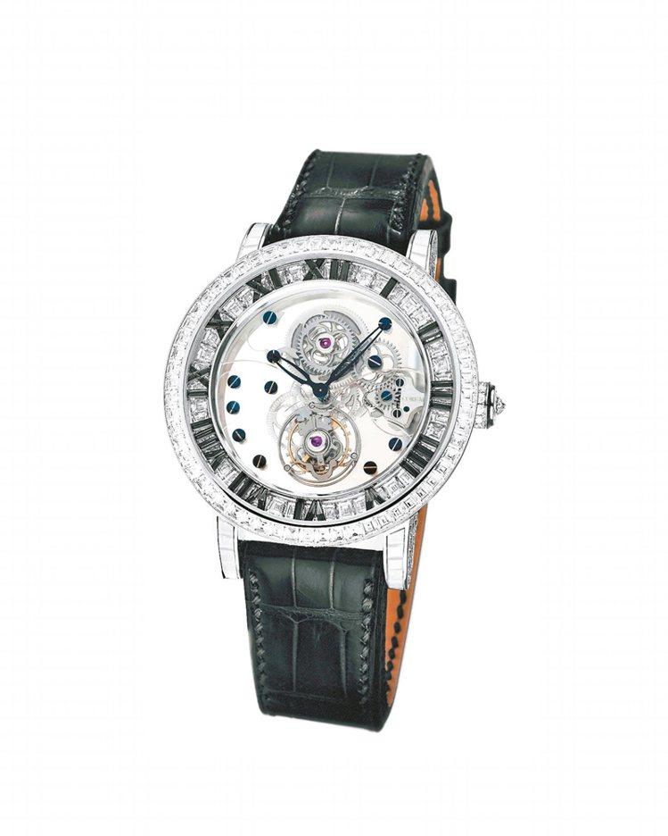 崑崙Heritage 經典系列億萬富豪陀飛輪鑽表,18K白金表殼,表側鑲675顆...