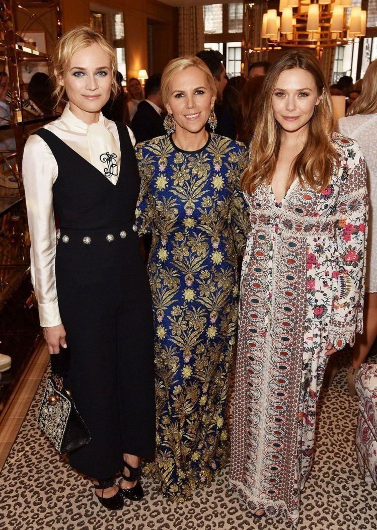 (左起)德國女星黛安克魯格、設計師Tory Burch、伊莉莎白歐森。圖/Tor...
