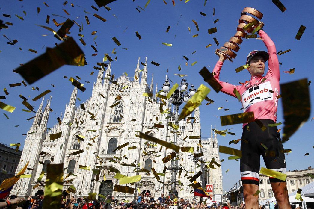 GIANT贊助車隊Team Sunweb選手Tom Dumoulin奪下第一百屆環義大利賽總冠軍。圖/GIANT提供