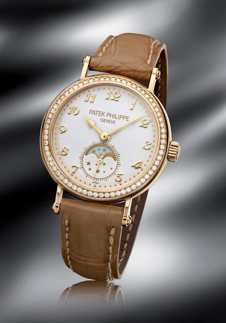 百達翡麗編號7121J月相顯示女錶,結合了優雅風範、複雜功能和鑽石鑲嵌三大元素。...