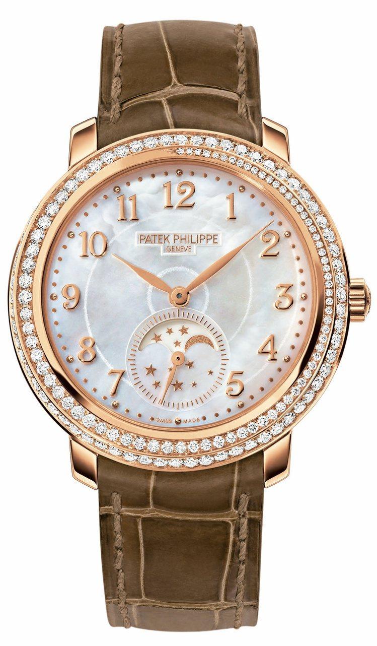 百達翡麗玫瑰金4968R Diamond Ribbon女錶,錶盤上的數字、月相顯...