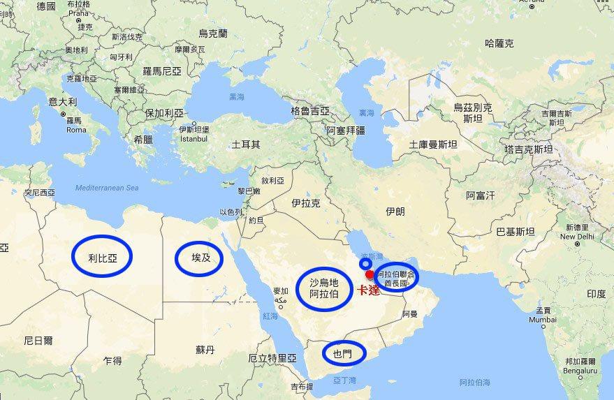 卡達。圖擷自Google Map