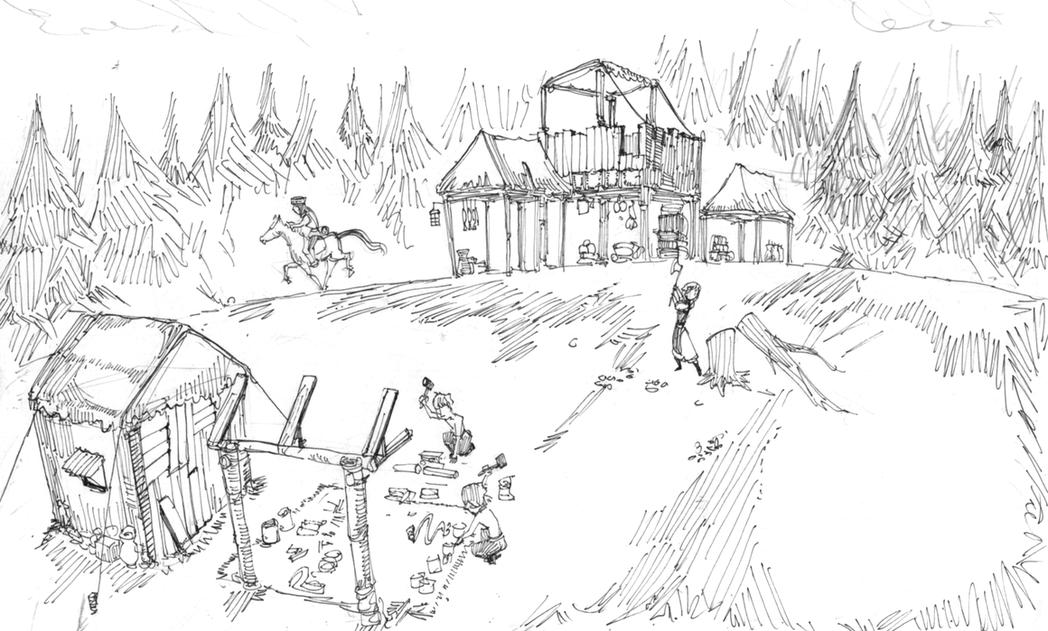 兩個村民蓋兩棟房子後去伐木,一個村民邊砍樹邊等騎兵圈羊。