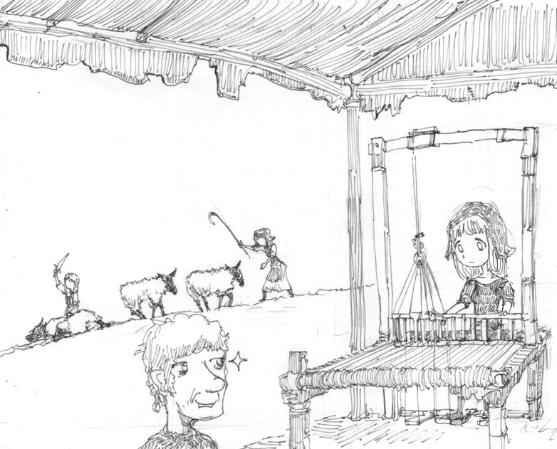 在第一項同時城鎮中心研發織布,後開始產村民宰羊直到6-7人,接著新人則改去支援伐...