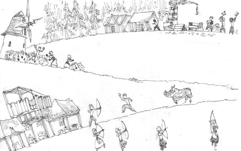 在遊戲開始6分鐘時差不多人口18人,拉木工蓋兩棟房子,新人口則改去採果樹,羊殺完...