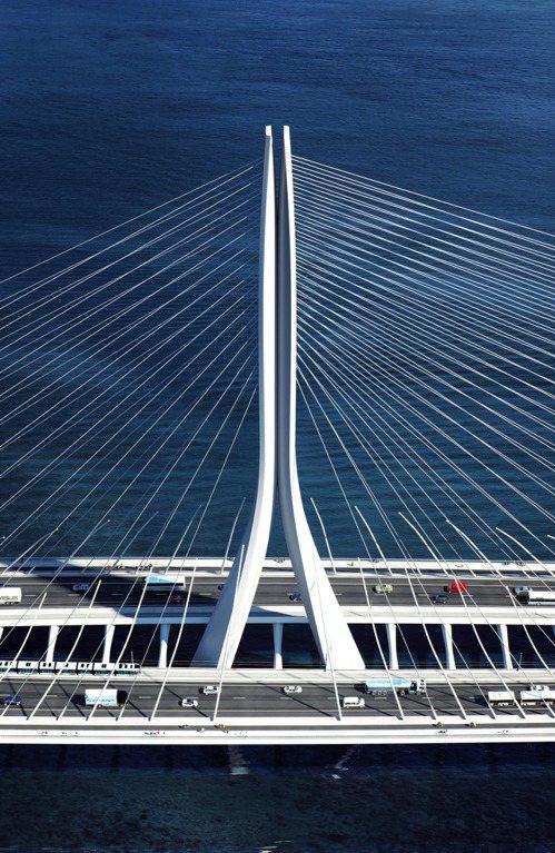 哈蒂團隊設計的斜張橋型靈感來自雲門舞集舞者跳躍向上的舞姿,中央主塔如雙手合十。 ...
