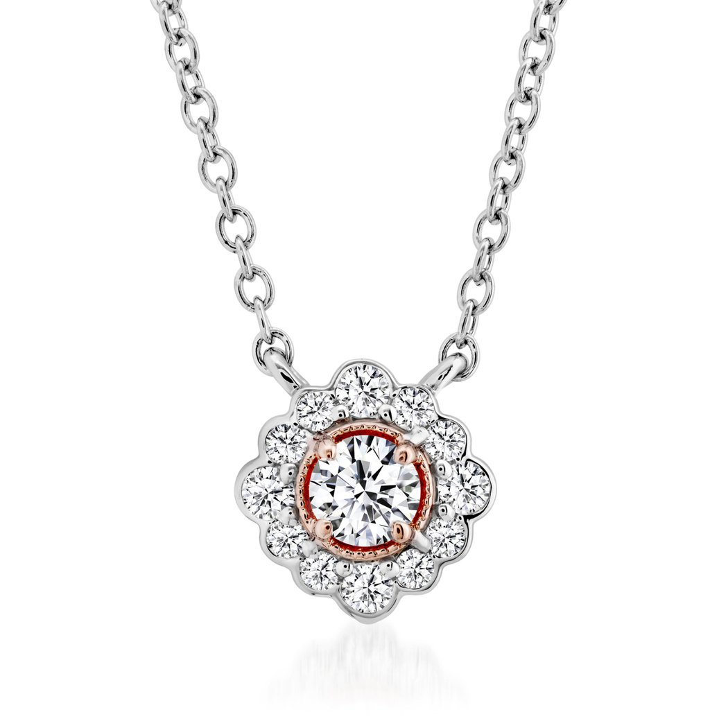 Liliana Flower Pend鑽石項鍊、950鉑金與18K玫瑰金鑲嵌總重...