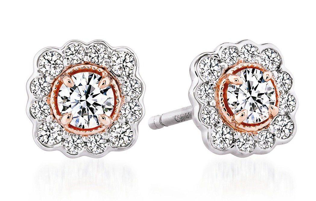 Liliana Flower Studs鑽石耳環,鉑金和18K玫瑰金鑲嵌總重0....