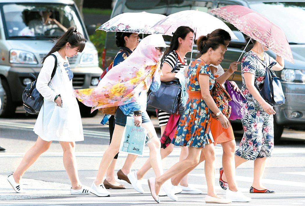 大熱天民眾撐傘、戴帽子、抹防曬油防曬。 報系資料照