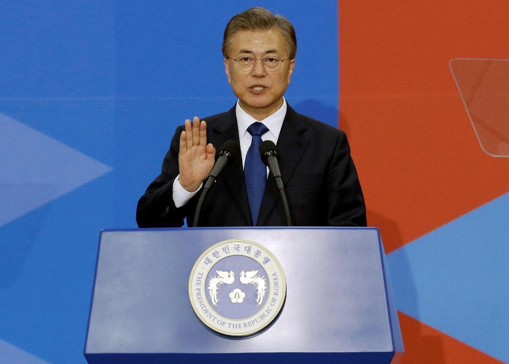 南韓總統文在寅。美聯社