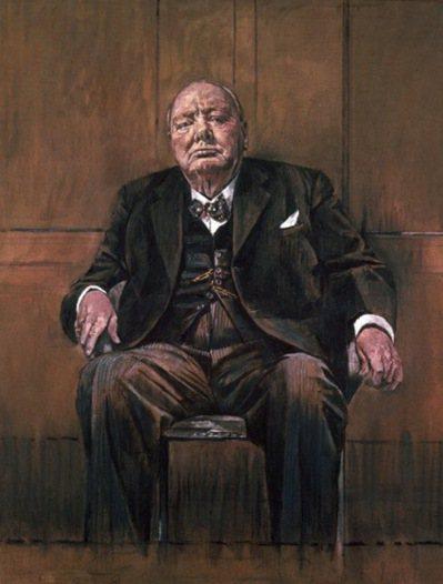 失傳的名畫:1954年英國現代派畫家蘇瑟蘭,為邱吉爾80歲大壽所畫的肖像(本圖為...
