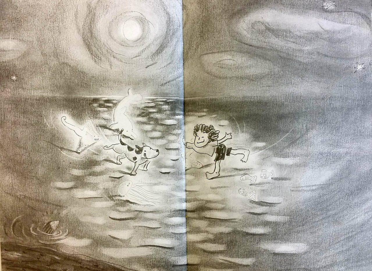 《月光溜冰場》透過單純的鉛筆素描,簡單的黑白色調,創造出一個充滿童真且豐富的幻想...