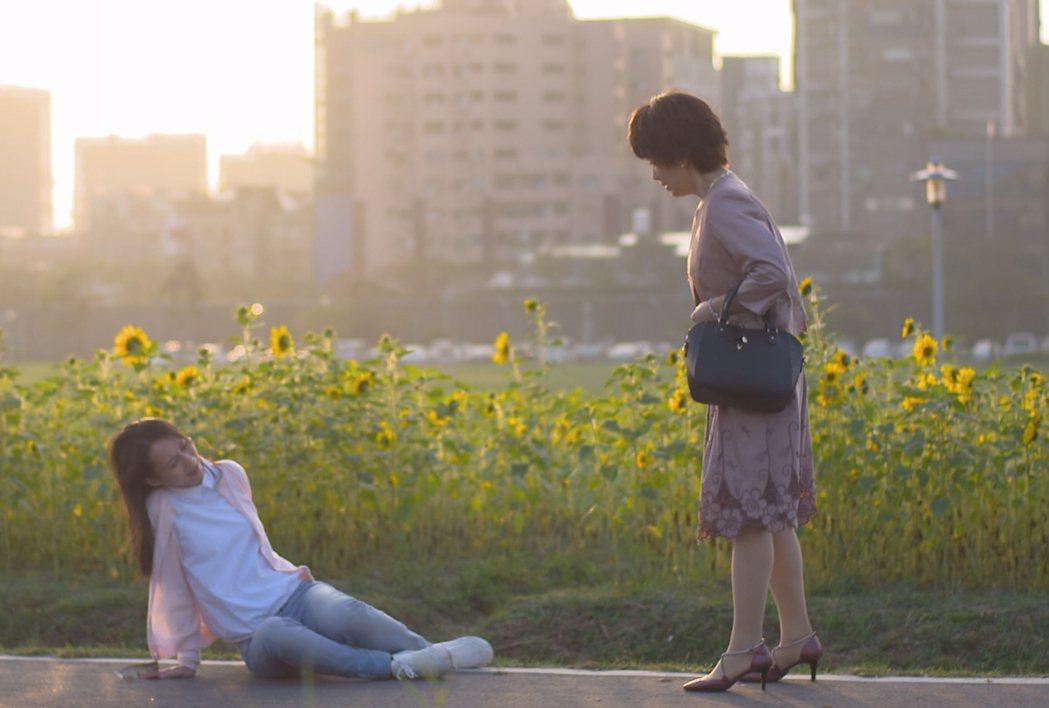 孫淑媚(左)遭劇中生母推倒。圖/台視提供