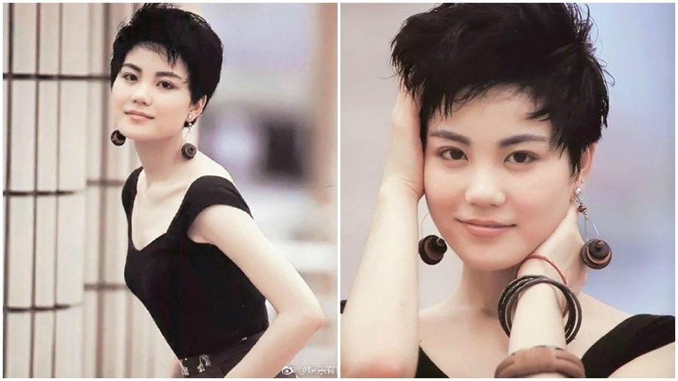 王菲昔日的青澀少女照曝光,看起來相當酷。圖/摘自微博
