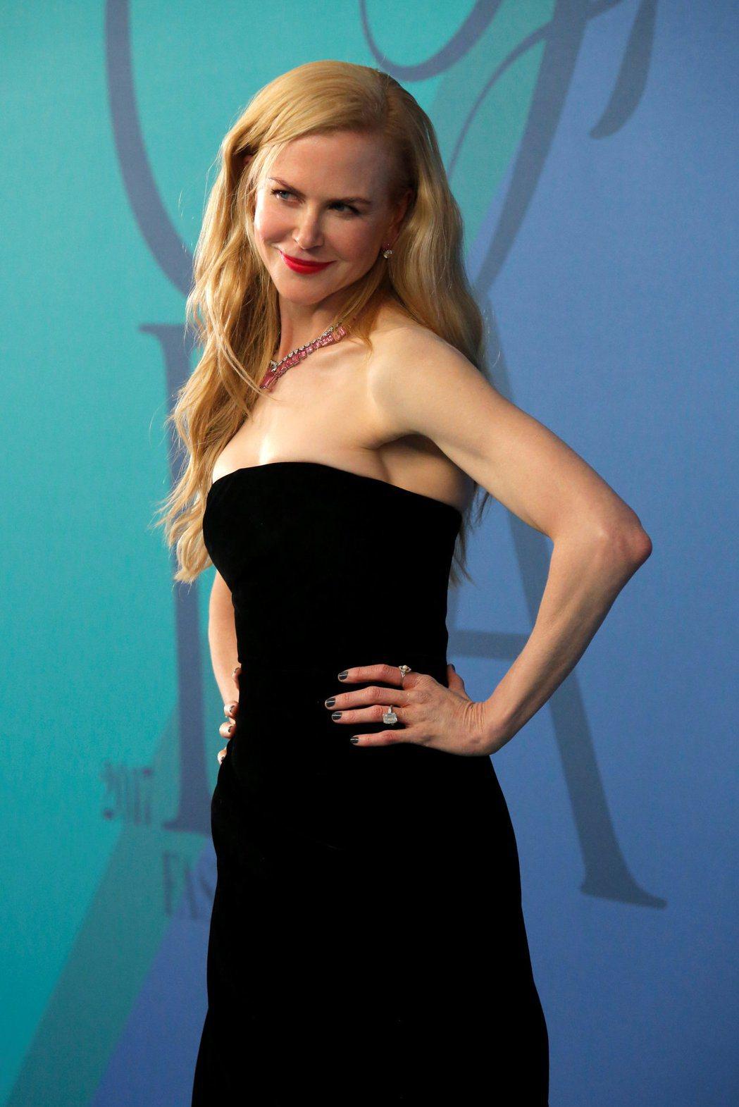 妮可基嫚拍HBO影集「美人心計」。圖/路透