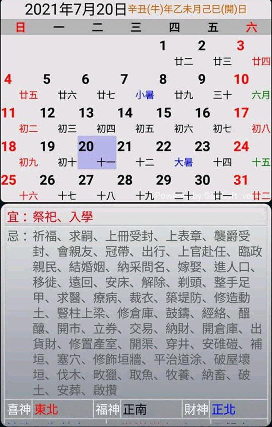 網友查出,黃子佼定娶孟耿如那天,黃曆上卻是忌嫁娶的。 圖/網友提供