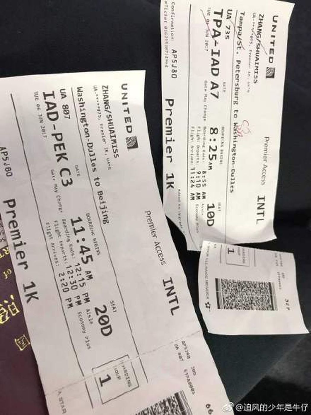 被撕毀的登機證。取材自微博