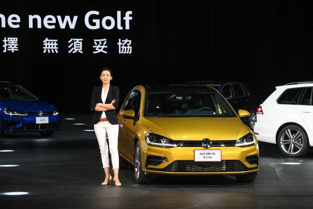 台灣福斯汽車品牌總裁Katy Tsang主持全新Golf發表會。 記者史榮恩/攝影
