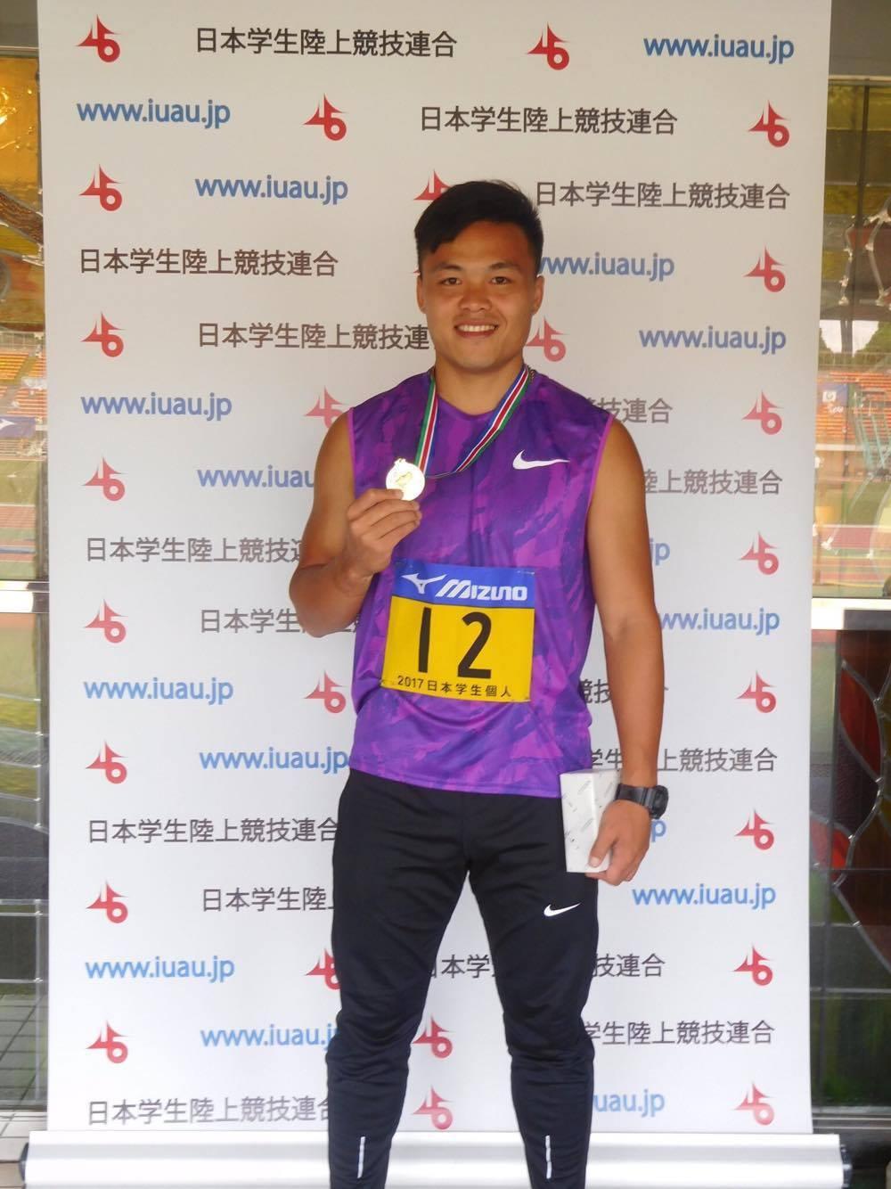 鄭兆村在日本大學田徑公開賽摘下男子標槍金牌。 圖/中華田徑協會提供