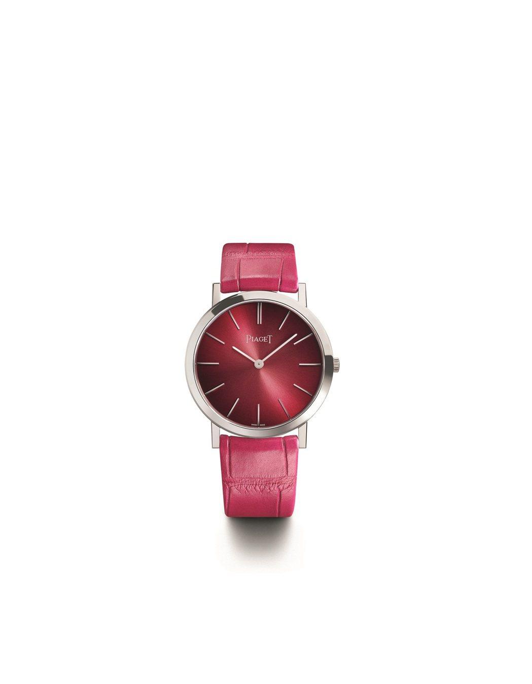Altiplano六十周年系列34毫米18K白金漸層粉紅腕表,57萬元。圖/伯爵...