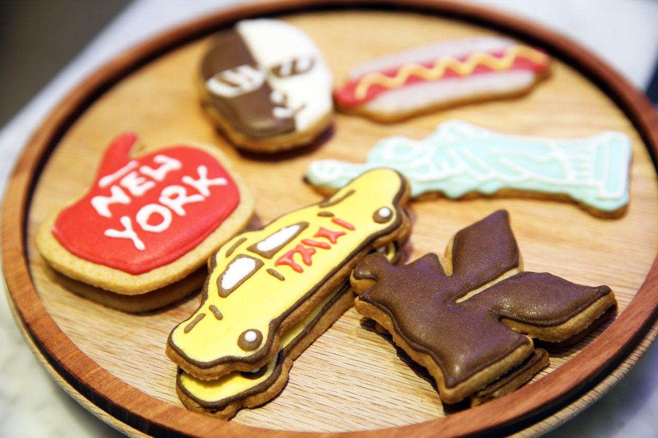造型可愛的紐約迷你造型餅乾,讓人捨不得一口咬下去。記者徐兆玄/攝影