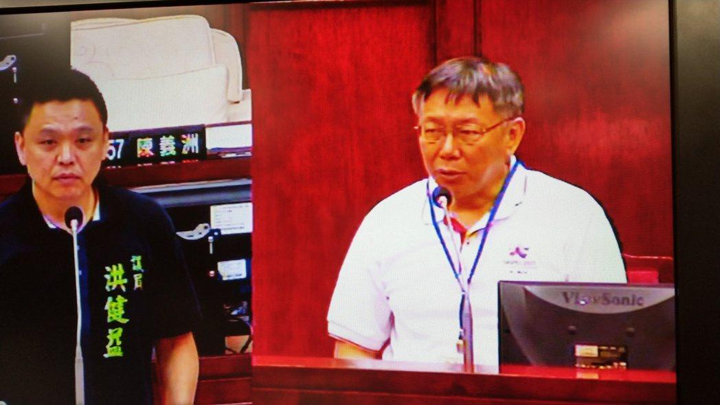 議員洪健益(左)批評台北世大運行銷差,柯文哲自己打分數給40分。記者楊正海/攝影