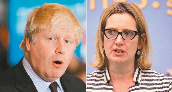 外相強森(左)是保守黨實力派人物。內政大臣魯德(右)被點名是梅伊的可能接班人。 ...