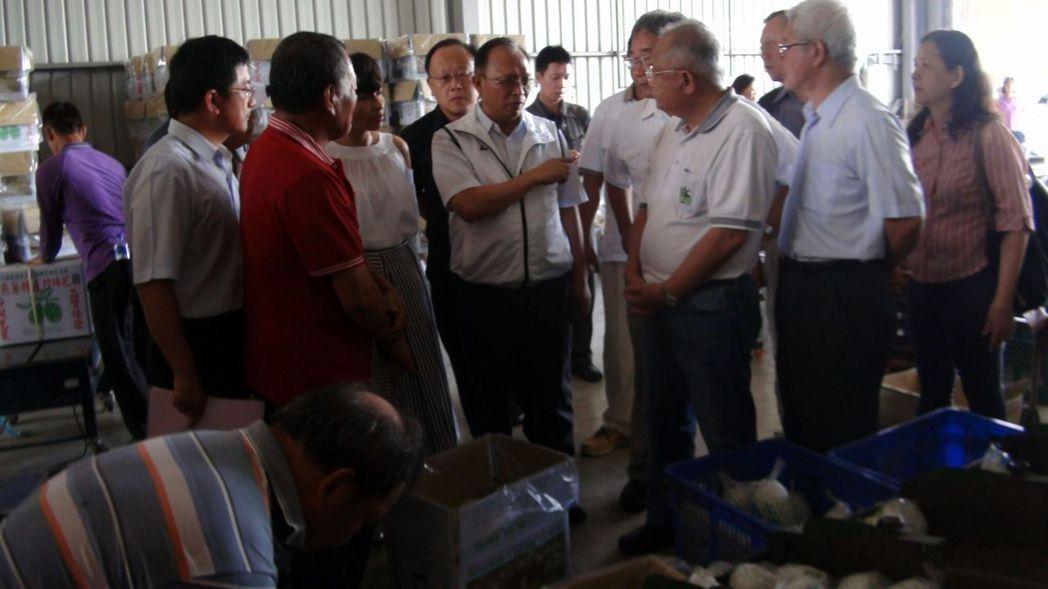 農委會主委林聰賢走訪高雄燕巢區農會多功能集貨中心,了解當地芭樂進貨、分裝等情形。...