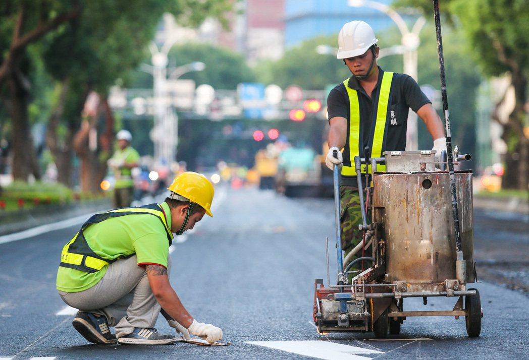 工人在休息前進行道路標誌塗裝。記者鄭清元/攝影