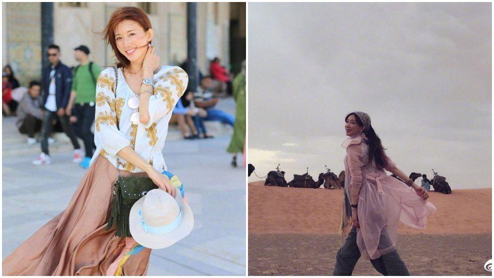 林志玲被讚為「沙漠最美的風景」。圖/摘自微博